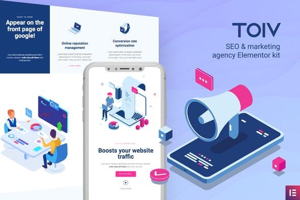 Toiv – SEO & Marketing Agency Elementor Template Kit - Creative & Design Elementor