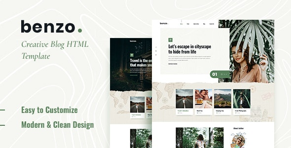 Benzo - Personal Travel Blog HTML5 Template - Creative Site Templates