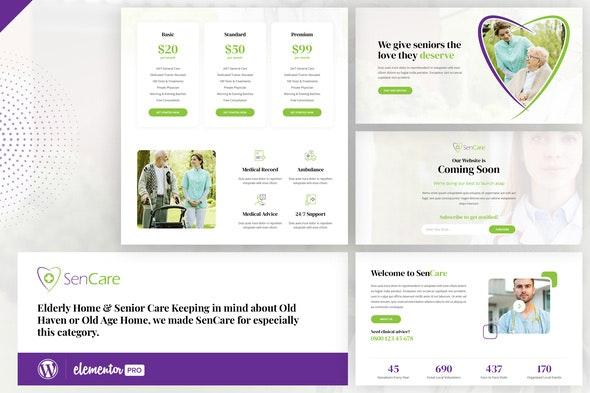 SenCare - Elderly Care Elementor Template Kit - Health & Medical Elementor