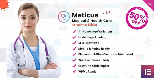 Meticue: Health and Medical Center WordPress Theme - Health & Beauty Retail