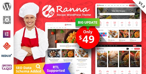 Ranna - Food & Recipe WordPress Theme - Personal Blog / Magazine