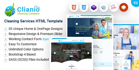 Clianio – Cleaning Services HTML Template - Business Corporate