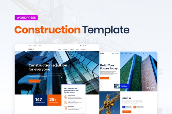 Dustro – Construction Company Elementor Template Kit - Real Estate & Construction Elementor