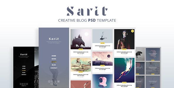 Sarit - Minimal Blog PSD Template - Creative Photoshop