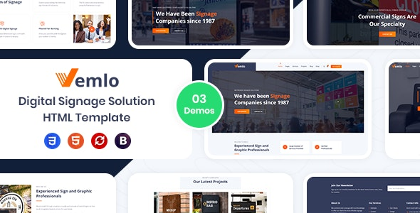 Vemlo - Digital Signage Services HTML Template - Business Corporate