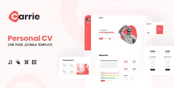 JD Carrie - Personal CV/Resume One Page Joomla Template - Joomla CMS Themes