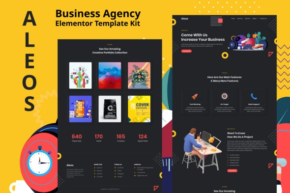Aleos - Business Agency Elementor Template Kit - Business & Services Elementor