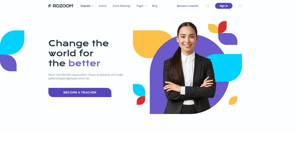 Rozoom - Distance Education & eLearning Template for Adobe Photoshop