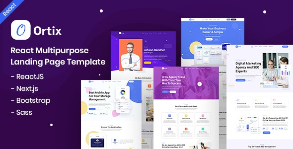 Ortix - React Multipurpose Landing Page Template - Business Corporate