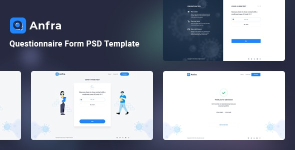 Anfra - Questionnaire Form PSD Template - Photoshop UI Templates