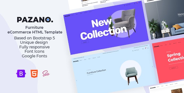 Pazano. - Bootstrap 5 Furniture eCommerce HTML Template - Retail Site Templates