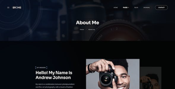 Broms - Photographer Portfolio Figma UI Template