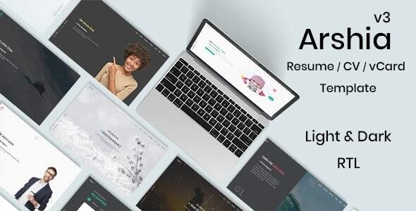 Arshia - Bootstrap 4 Personal, portfolio and resume template + RTL - Personal Site Templates