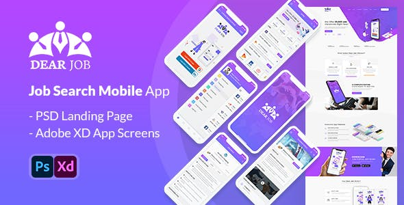 Dearjob - Adobe XD mobile application
