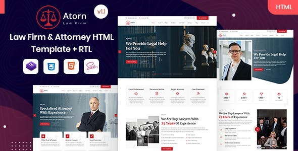 Atorn - Law Firm & Attorney HTML Template