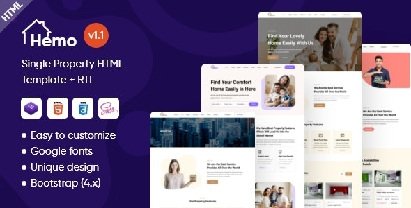 Hemo - Single Property HTML Template - Business Corporate