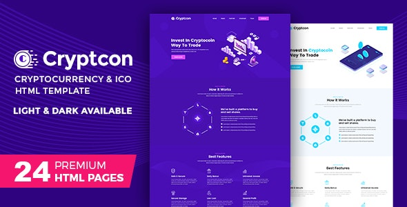 Cryptcon | ICO, Bitcoin And Crypto Currency HTML Template - Marketing Corporate