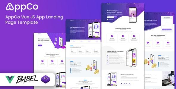 AppCo – Vue JS App Landing Page Template - Technology Site Templates