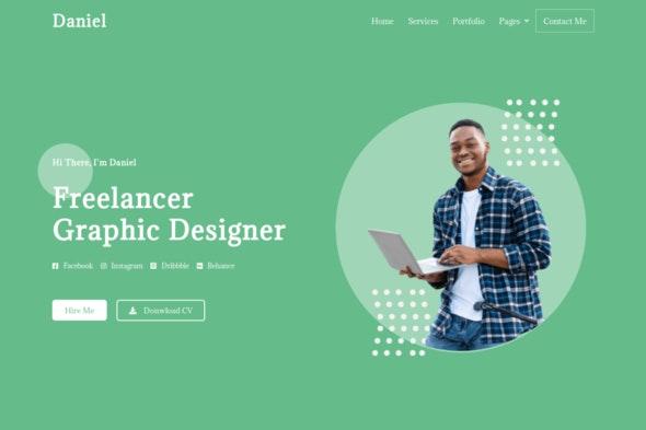 Daniel - Personal Freelancer Elementor Template Kit - Personal & CV Elementor