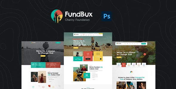 FundBux Charity & Fundraise PSD Template - Charity Nonprofit