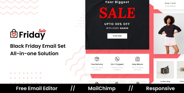 FridaySale - Responsive Email Template For Black Friday - Newsletters Email Templates