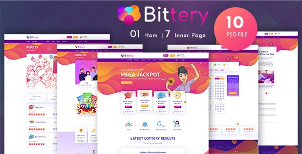 Bittery - Online Lotto & Lottery PSD Template - Miscellaneous Figma