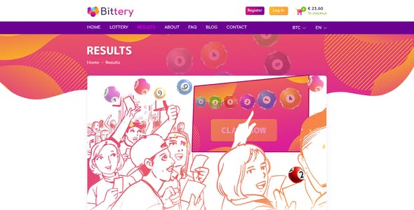 Bittery - Online Lotto & Lottery PSD Template