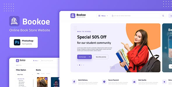 Bookoe - Book Store Website UI Design PSD Template