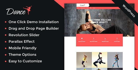 Dance Academy WordPress Theme - Music and Bands Entertainment