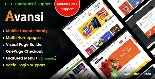 Avansi - Top Multi-purpose MarketPlace OpenCart 3 Theme (Mobile Layouts Included)