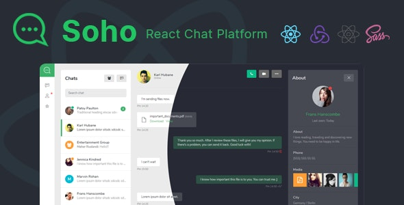 Soho - React Chat and Discussion Platform - Admin Templates Site Templates