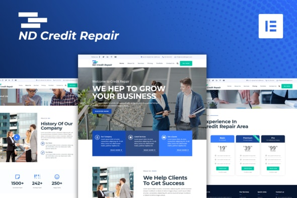ND Credit Repair - Finance Company Elementor Template Kit - Finance & Law Elementor
