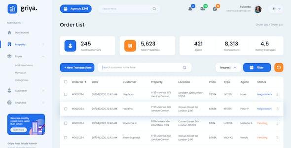 Griya - Real Estate Admin Dashboard UI Figma Template