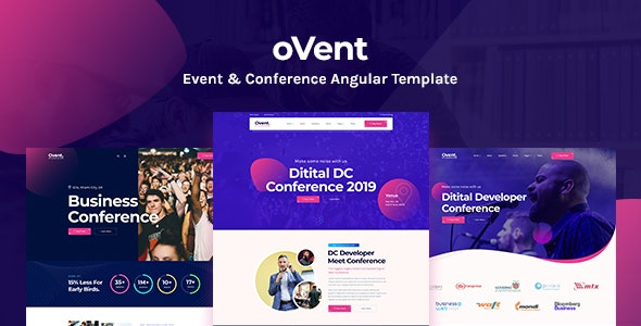 Ovent - Angular 10 Event Conference & Meetup Template - Events Entertainment