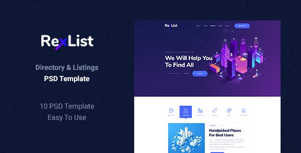 RexList - Directory & Listing PSD Template - Business Corporate