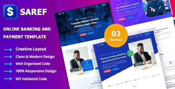 Saref - Online Banking & Payment Service Template - Business Corporate