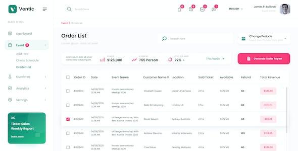 Ventic - Event Ticketing Admin Dashboard PSD Template