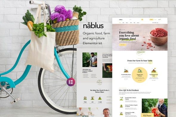 Nablus – Organic Food & Agriculture Template Kit - Food & Drink Elementor