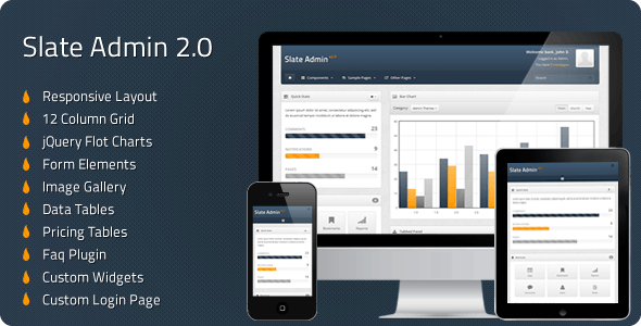 Slate - Responsive Admin Template - Admin Templates Site Templates