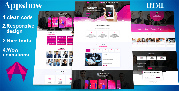 Appshow - App landing page HTML
