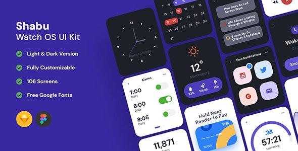 Shabu - Watch OS UI Kits - Sketch UI Templates