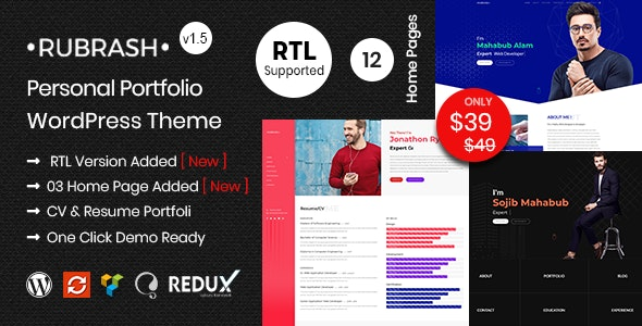 Rubrash - Personal Portfolio WordPress Theme - Portfolio Creative