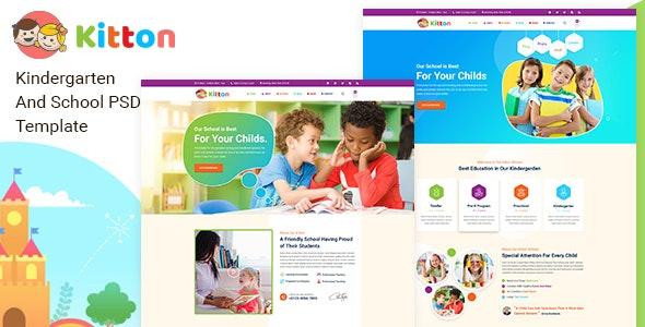 Kitton - Kids, Kindergarten And Pre-School PSD Template - Children Retail