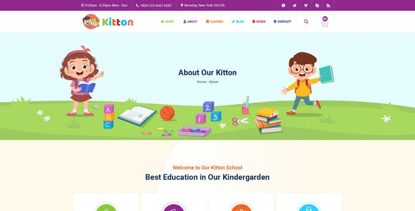 Kitton - Kids, Kindergarten And Pre-School PSD Template
