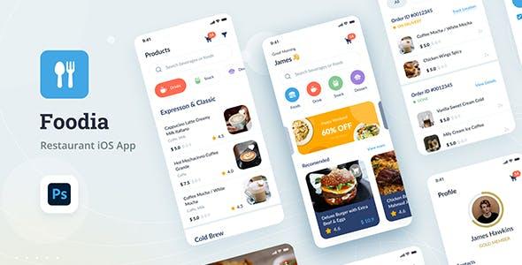 Foodia - Restaurant iOS App Design UI PSD Template