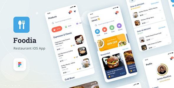 Foodia - Restaurant iOS App Design UI Figma Template - Food Retail