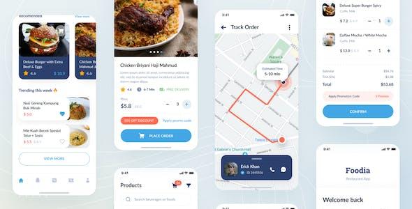 Foodia - Restaurant iOS App Design UI Figma Template