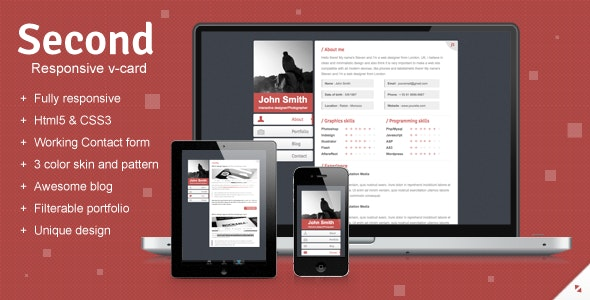 Second Responsive V-card Template - Virtual Business Card Personal