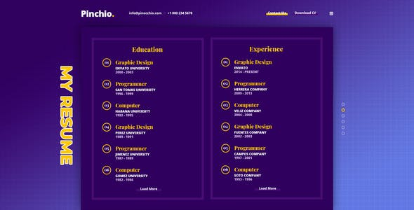 Pinchio - Personal Resume PSD Template