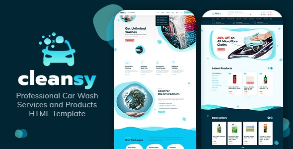 Cleansy - Car Wash Services & Products HTML Template - Business Corporate